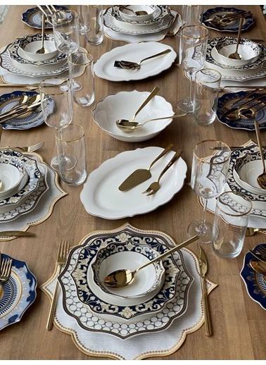 ROSSEV Yemek Takımı Blue Ring 92 Parça 6 Kişilik Renkli